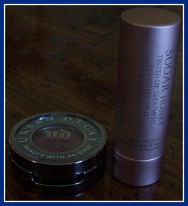 Urban Decay Eyeshadow in Last Call, Left, and Fresh Lip Treatment in Honey, Right