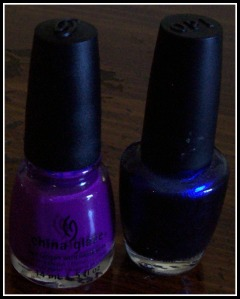 China Glaze's X-Ta-Sea, Left, and OPI's Into The Night, Right